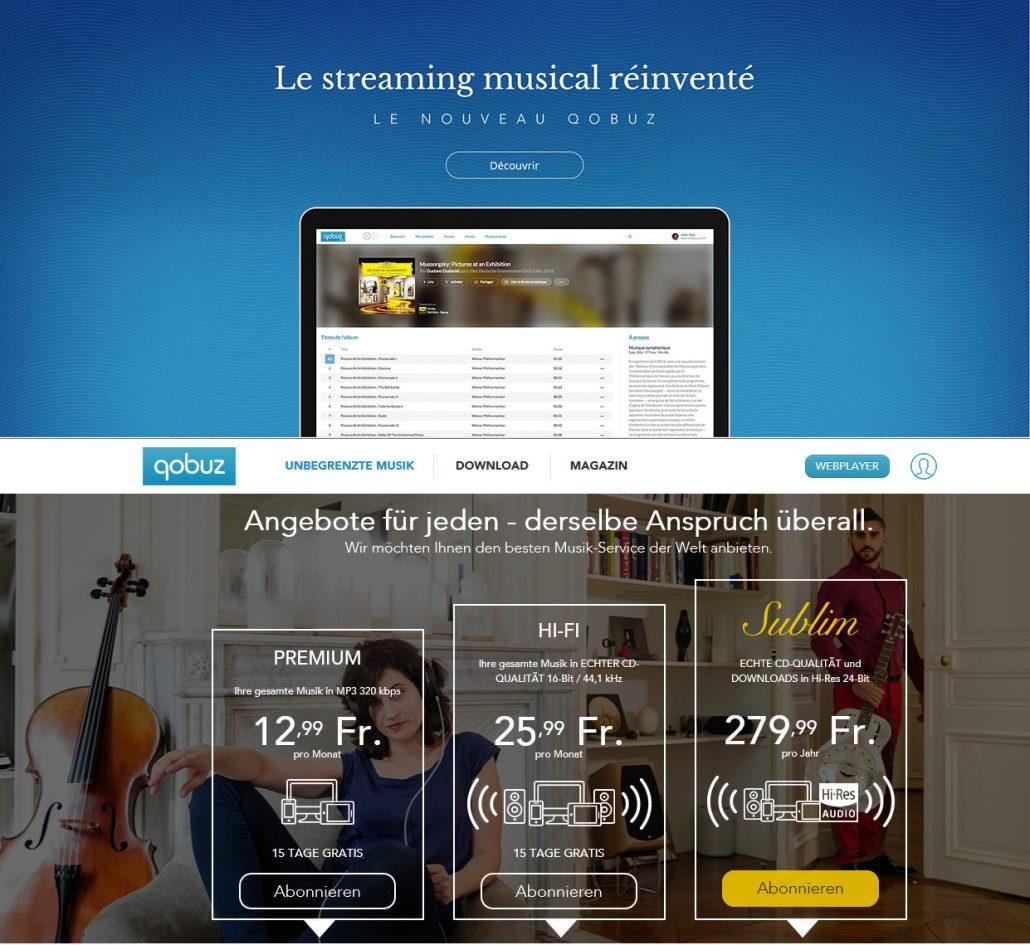 Qobuz Streaming Startseite